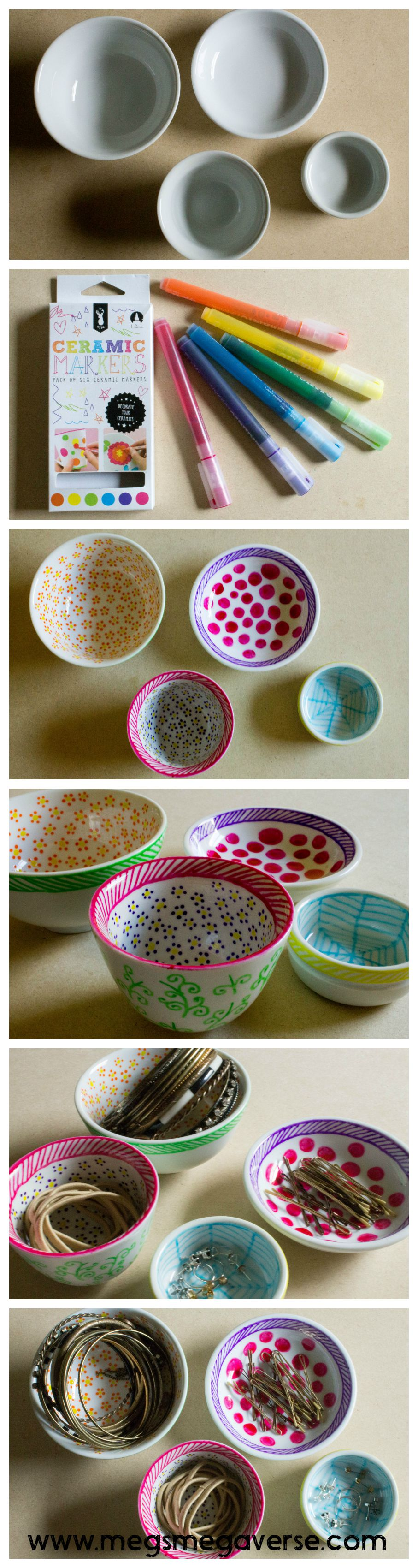 DIY jewellery organisation. Plain white ceramic dishes and ceramic pens. These look super awesome!